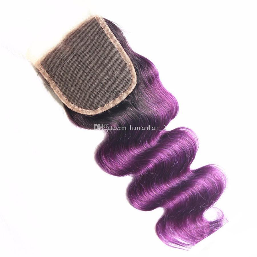 Qualità Two Tone 1B viola Ombre chiusura in pizzo con fasci radici scure viola dell'onda del corpo ombre capelli umani tesse con chiusura superiore in pizzo