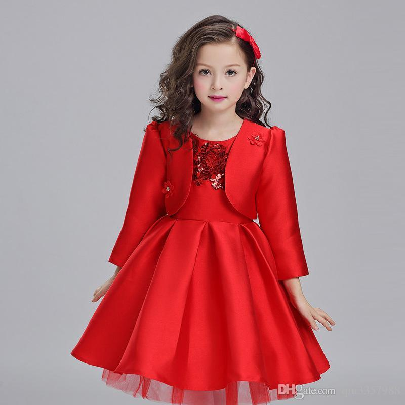 25e7a97f128 A Line Knee Length Long Sleeve Boat Neck Red Flower Girl Dresses For  Wedding Brithday Dresses With Sequins Hot Sale Wholesale Flower Girl Dresses  Baby Blue ...