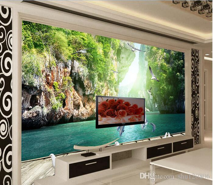 3d room wallpaper custom photo mural Dolphin playing water wood landscape decor background painting 3d wall murals wall paper for walls 3 d