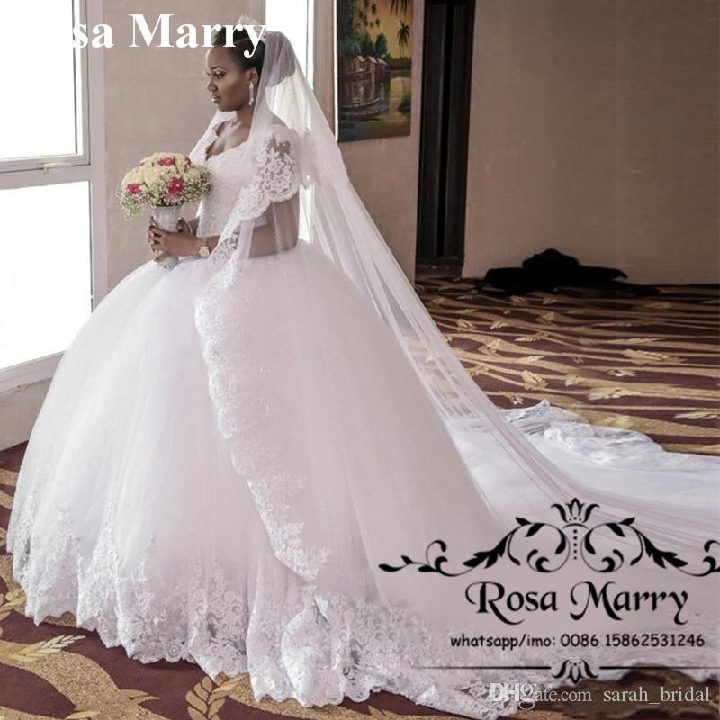 Vintage Wedding Dresses Under 1000: Puffy Chapel Train African Nigeria Wedding Dresses 2020