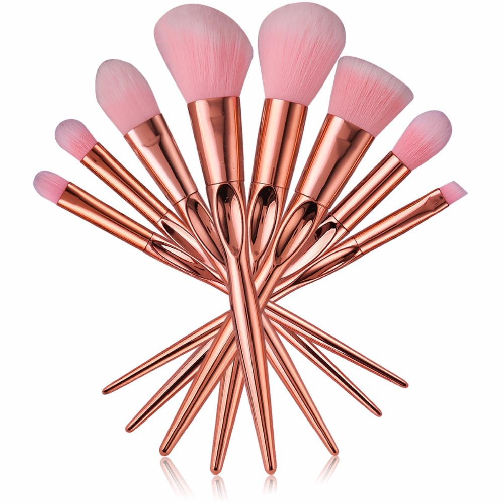 Mileegirl Rose Gold Makeup Brushes Real Heart Taper Contour Powder Brush Professional Soft Pincel Make Up Brush Kits Best Eyeshadow Best Foundation Brush ...