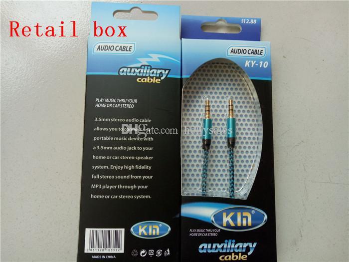 Neue ankunft 3,5mm AUX Audio Kabel Männlich Zu Männlich Stereo Auto Erweiterung Audio Kabel Für MP3 Für telefon 10 Farben mit kleinpaket