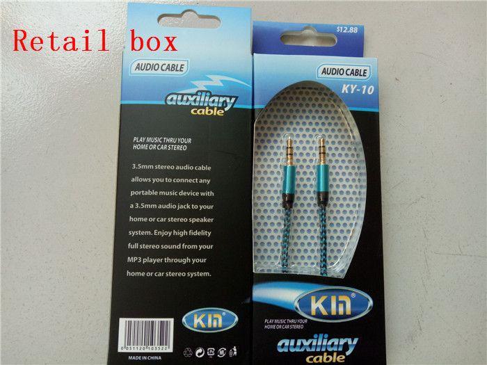 Nueva llegada 3.5mm AUX Audio Cables macho a macho Stereo Car Extension Cable de audio para MP3 para teléfono es con paquete al por menor
