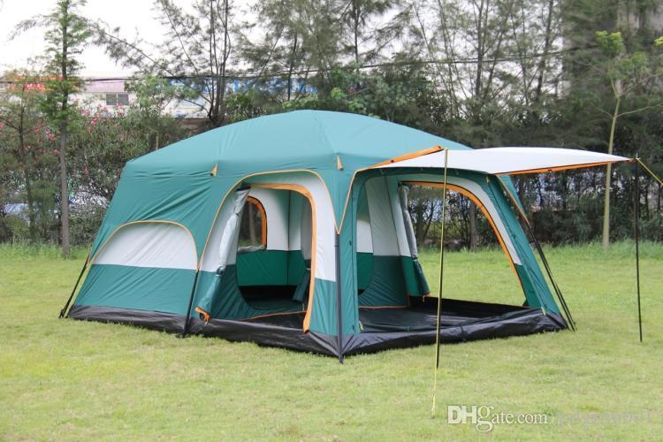 Abri de tente ultralarge lodge tabernacle une salle deux chambres double couche 6-12 personnes utilisent la fête en plein air famille camping tentes