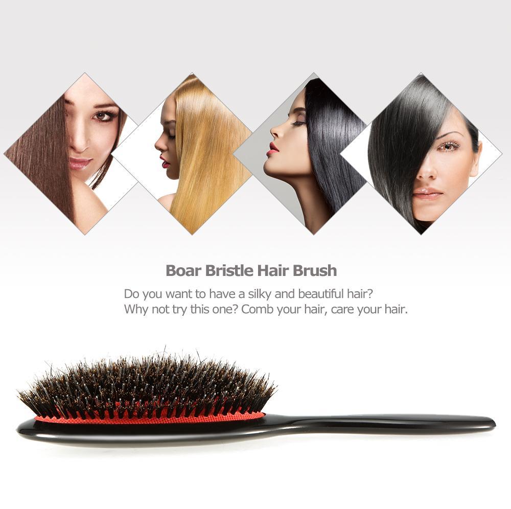ABS Kolu Domuzu Kıl Naylon Saç Fırçası, Anti-statik Oval Saç Derisi Masaj Tarak Saç Fırçası Salon Saç Tarak Şekillendirici Araçları