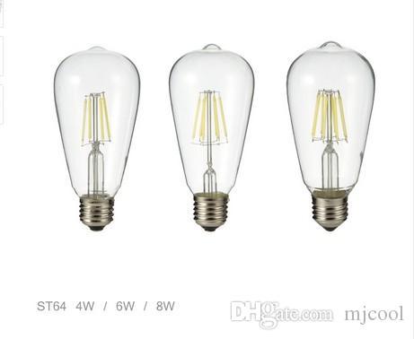 Frete grátis vintage edison lâmpada LED E27 4 W 6 W 8 W AC220V / 110 v Limpar Cristal Clear Shell Retro LED Filament Light St64