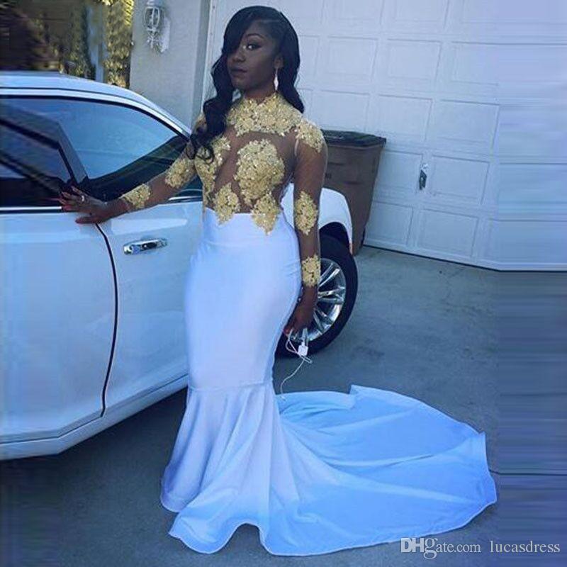 Satin Two Colors Sequins Appliqued High Collar Long Sleeve Hollow Mermaid Zipper Sweep Train Evening Dress