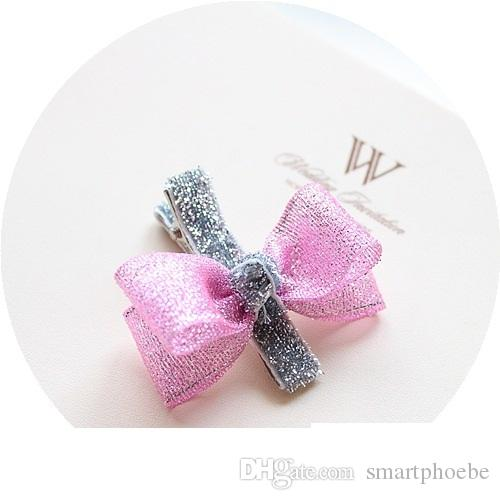 Wholesale Fashion Floral Gauze Hair Bow Baby Girls Hair Clips Solid Cute Glitter Bowknot Girls Hairpins Princess Hair Accessories