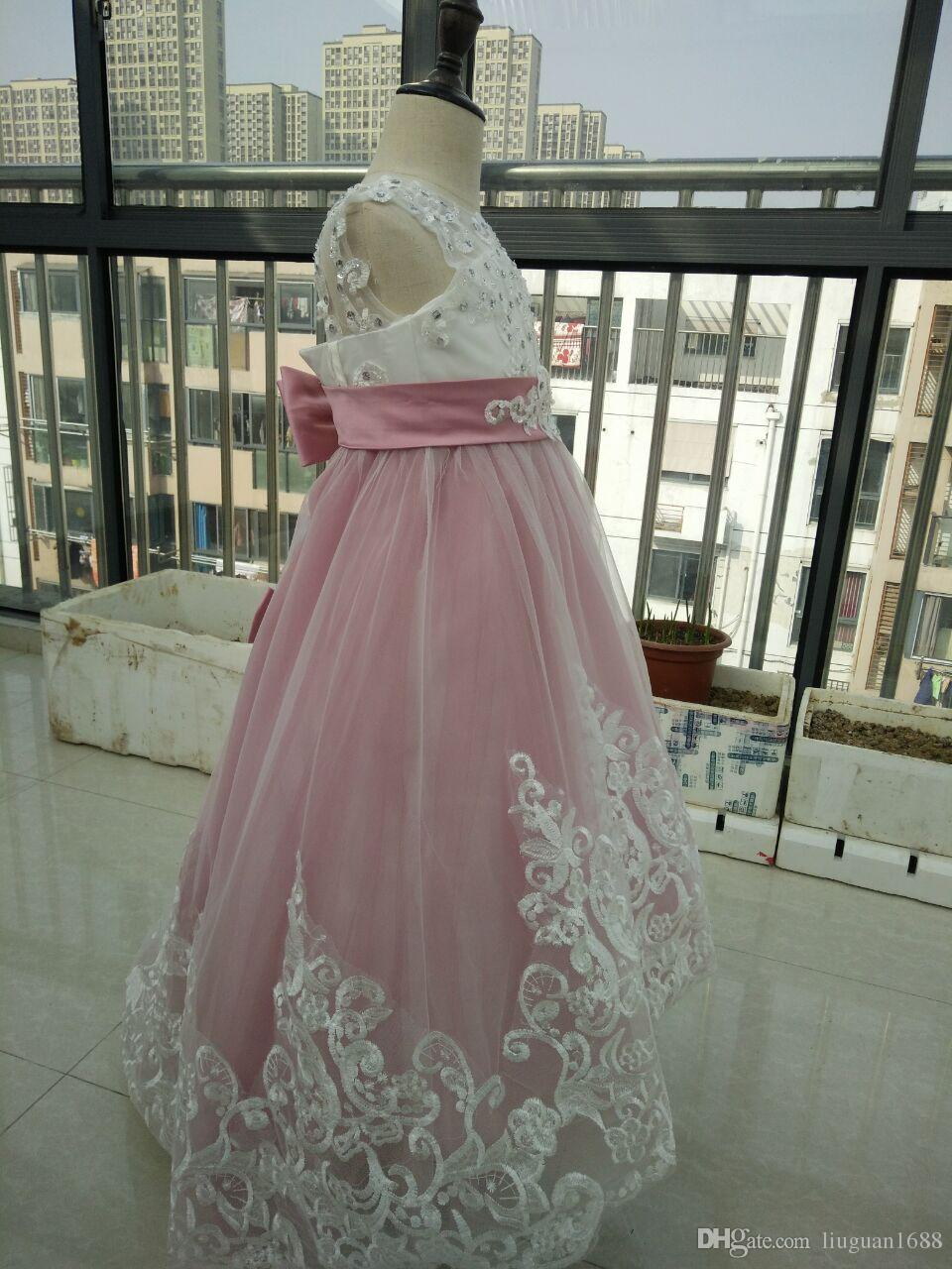 New Design A Line Jewel Floor Length Pink Tulle Lace Flower Girls' Dresses For Wedding Cheap Wedding Party Pageant Dresses For Girls