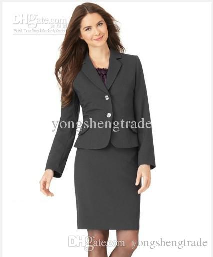 Womens Suits Women Clothing Tailor Suit Long Sleeve Jacket & Pencil Skirt Black Women Suit