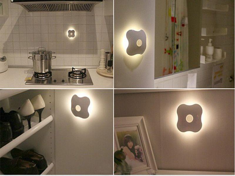 Four Leaf Clover PIR Motion Sensor LED Night Light Smart Human Body Induction Nightlight Battery USB Closet Cabinet Toilet Lamps ZJ0228