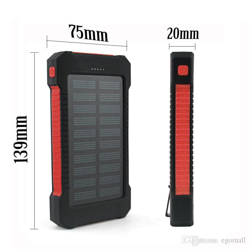 Shock drop resistance Waterproof Solar Power Bank 10000mah Dual USB Bateria Externa Portable Solar Charger Powerbank for phone