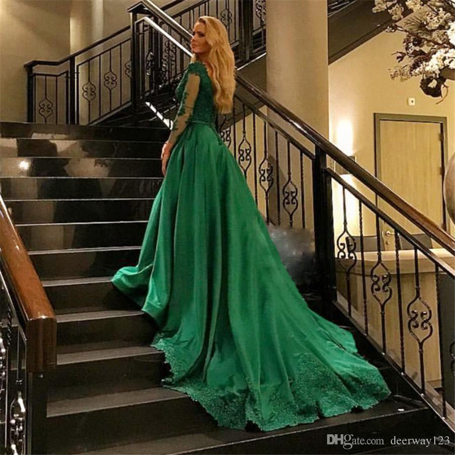Abiti da sera eleganti taglie forti 2019 Robe Longue Manche Longue Soiree Emerald Green Ball Gown Maniche lunghe Abiti da ballo