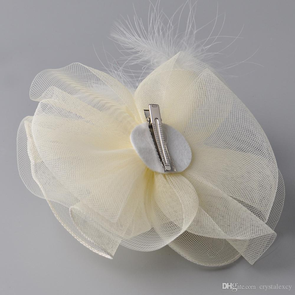 2017 New Bridal Ivory Hat Fascinator Handmade Vintage Lady Elegant Birdcage Net Hair Headdress Wedding Accessories