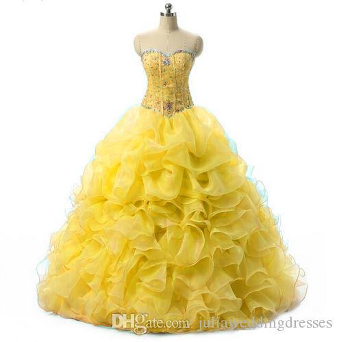 재고 있음 2021 노란색 Quinceanera 드레스 공 가운 Organza 페르시 러프 달콤한 15 드레스 댄스 파티 드레스