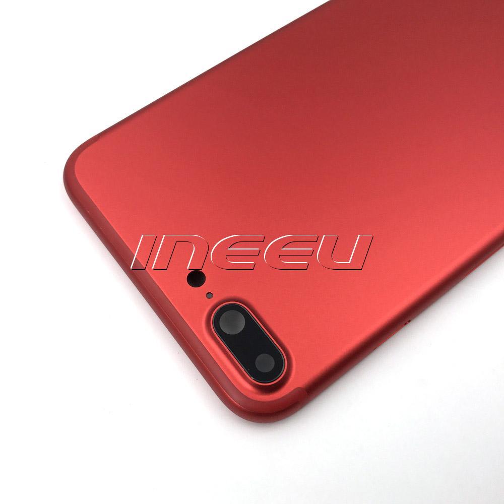 Nuova custodia Full Red di colore iPhone 7 7Plus Alluminio di ricambio porta batteria coperchio nero opaco
