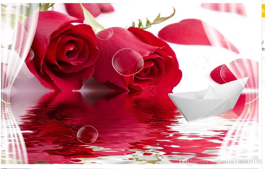 individuelle Tapete für Wände Schöne moderne rote Rose Reflexion Papierboot 3D dekorative Malerei Hintergrund Wand