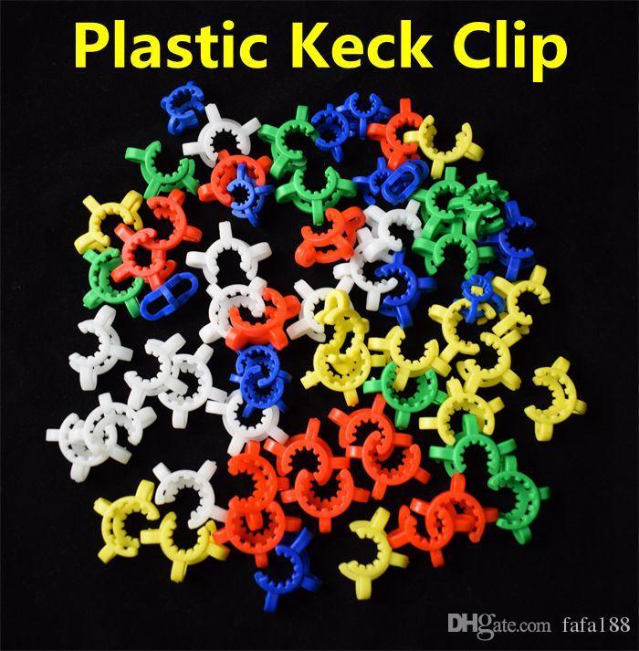 Pupulaire 10mm 14mm 19mm En Plastique Keck Clip Laboratoire Laboratoire Pince Clip En Plastique Verrouiller Verre Adaptateur Fumeur Accessoire pour Mini Verre Tuyaux Bongs