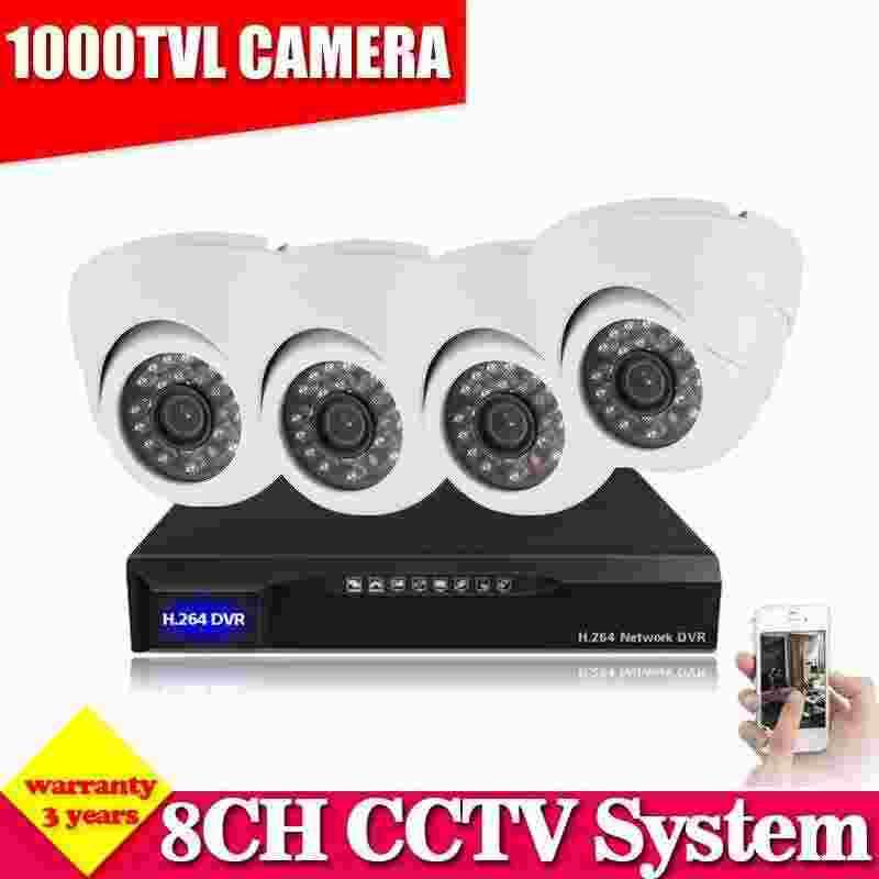 8CH CCTV DVR White Dome Indoor Outdoor 1000TVL Home Security ...