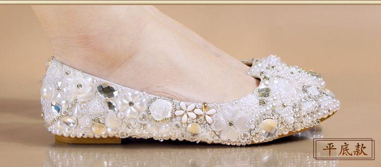 Sparkling Rhinestone Wedding Pumps Decorative Lace Platform Court Shoes Bridal Accessories Party Wear Nightclub High Heels