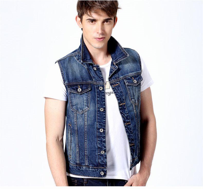 2019 2019 Men Vest Denim Vests Men'S Spring Cotton Slim Jeans Jacket Waistcoat Sleeveless Waistcoat Summer Denim Jackets Outerwear From Myleopard,