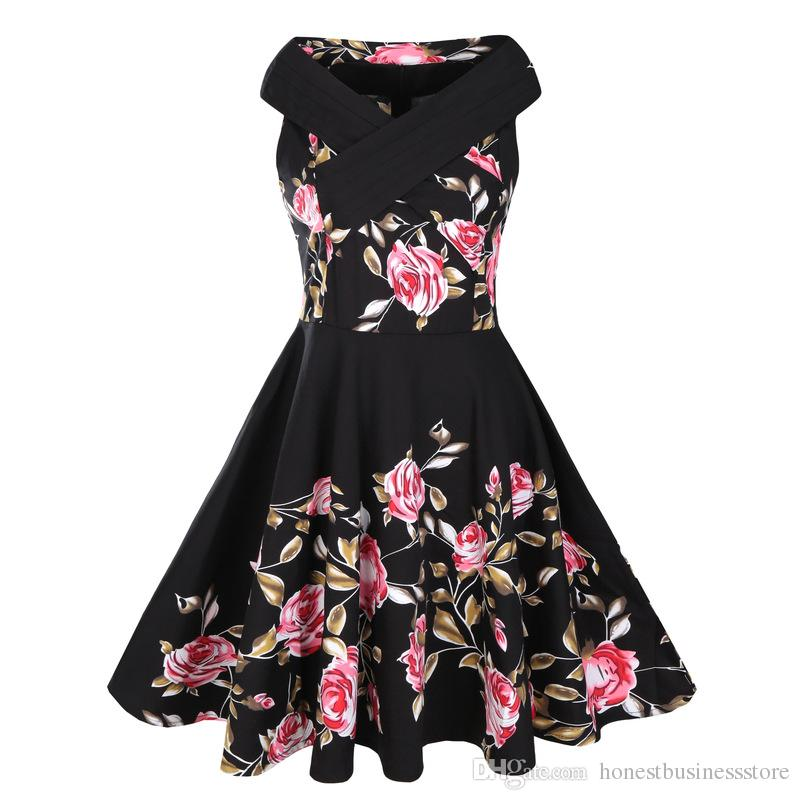 2017 New Arrival European Style Hepburn 50s Slash Neck Criss-Cross Sleeveless Floral Printed Vintage Panelled Swing Plus Size Dress