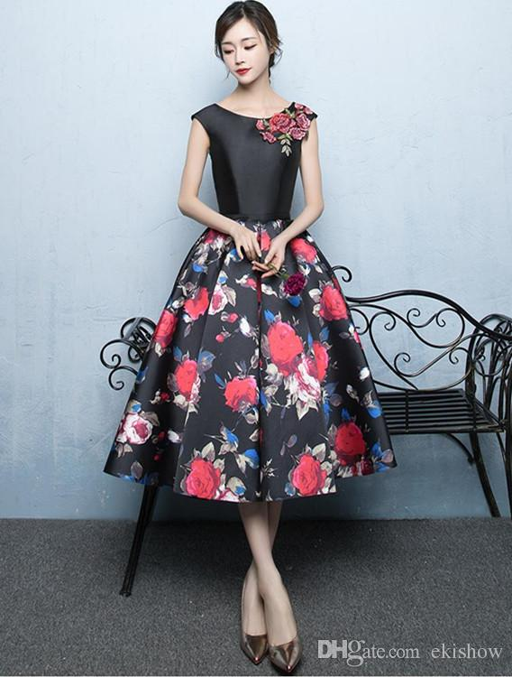 2017 Elegant Satin A-Line Tea-Length Short Prom Dresses Flower Print Bandage Sleeveless Lace-Up Formal Party Dress Evening Gowns