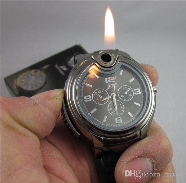 Casual Cool gas del butano della sigaretta degli uomini della novità del sigaro della ricaricabile da polso al quarzo