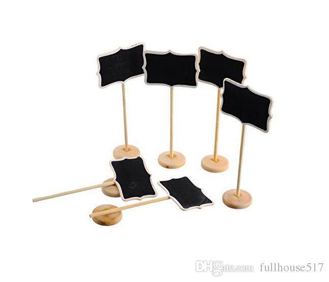Rechteck herzförmige Holz Mini Vintage Tafel Tischkartenhalter Stand für Dessert Tisch WordPad Message Board Holder Clip für Hochzeit
