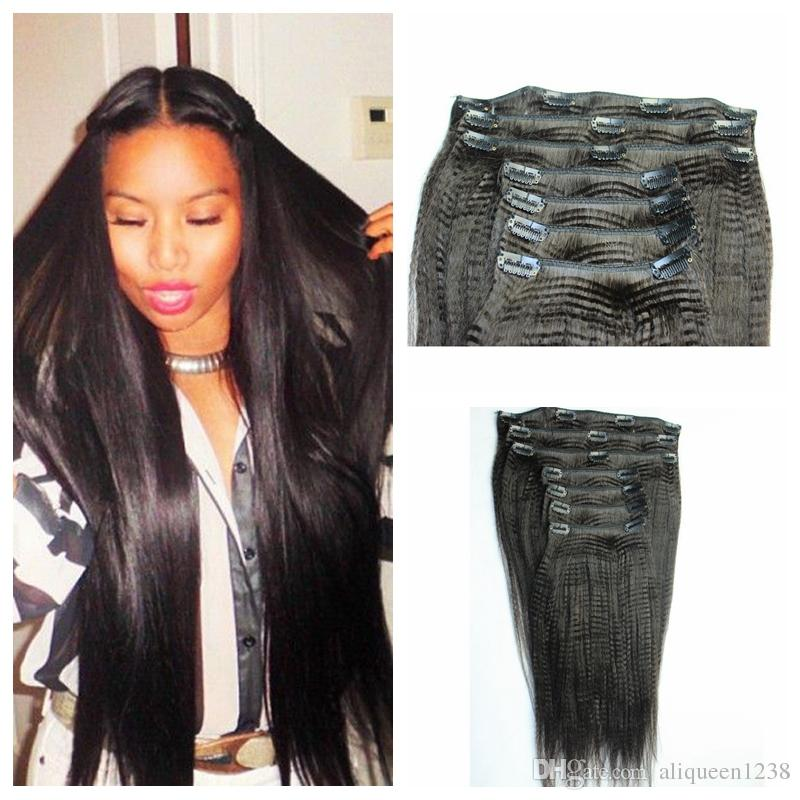 Peruvian Human Hair 8psc set 100g Clip In Extensions Natural Black Italian Yaki Straight For Black Women Free Delivery
