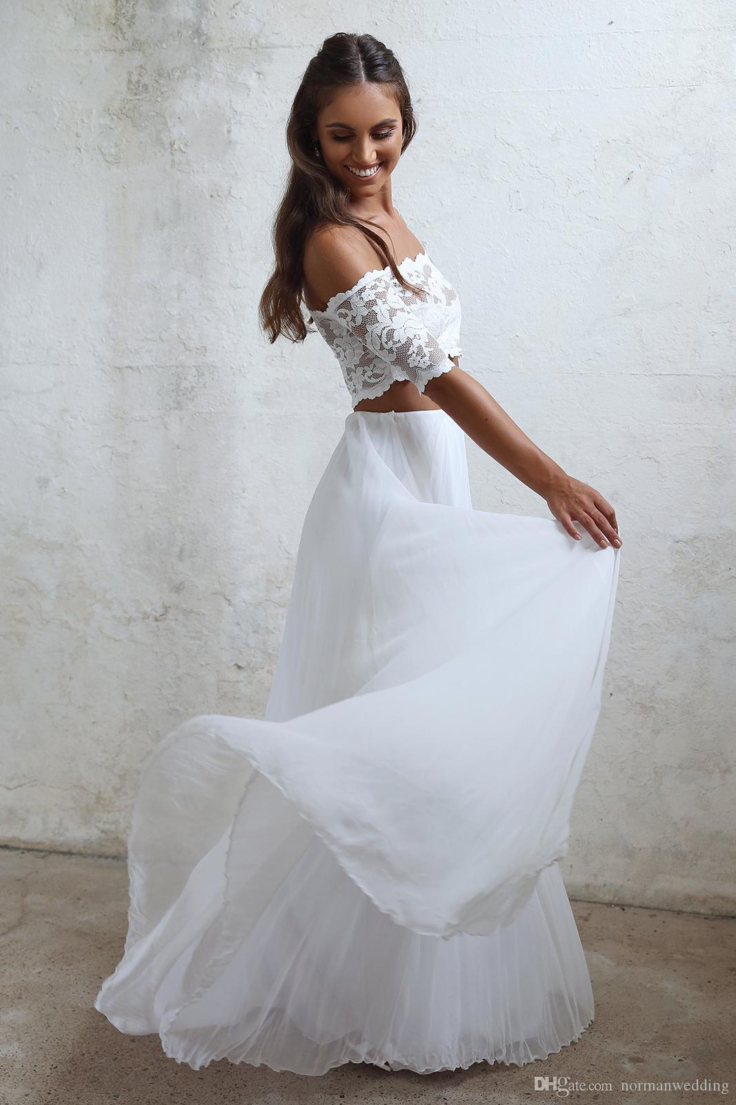 Discount Seductive Lace 2 Two Piece Wedding Dresses Summer Chiffon