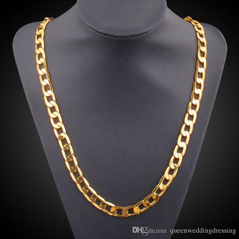 c7e32d42ea61 Cadena de oro larga de la vendimia para los hombres collar de cadena a  estrenar TrendReal chapado en oro grueso 18k 9.5 mm oro verdadero plateado  grueso ...