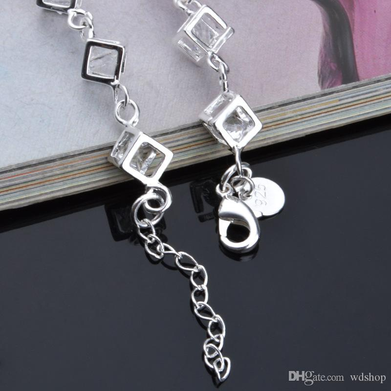 Colorful Shiny Austrian Crystal Bracelet Unique Health 925 Silver Square Bracelets Chain For Women Party Free Jewelry Box
