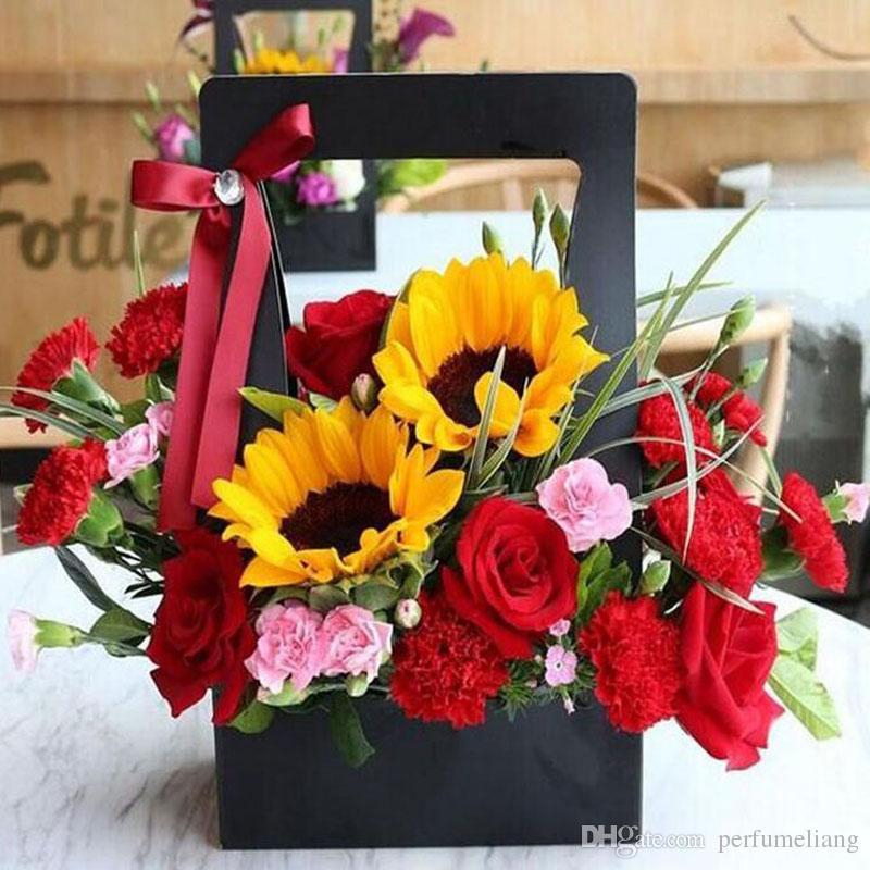 Yaratıcı Kağıt Çiçek Sepeti Taşınabilir Çiçekler Kutuları Kağıt Karton Çiçekçi Taze Çiçek Taşıyıcı Tutucu Ev Dekorasyon ZA3211