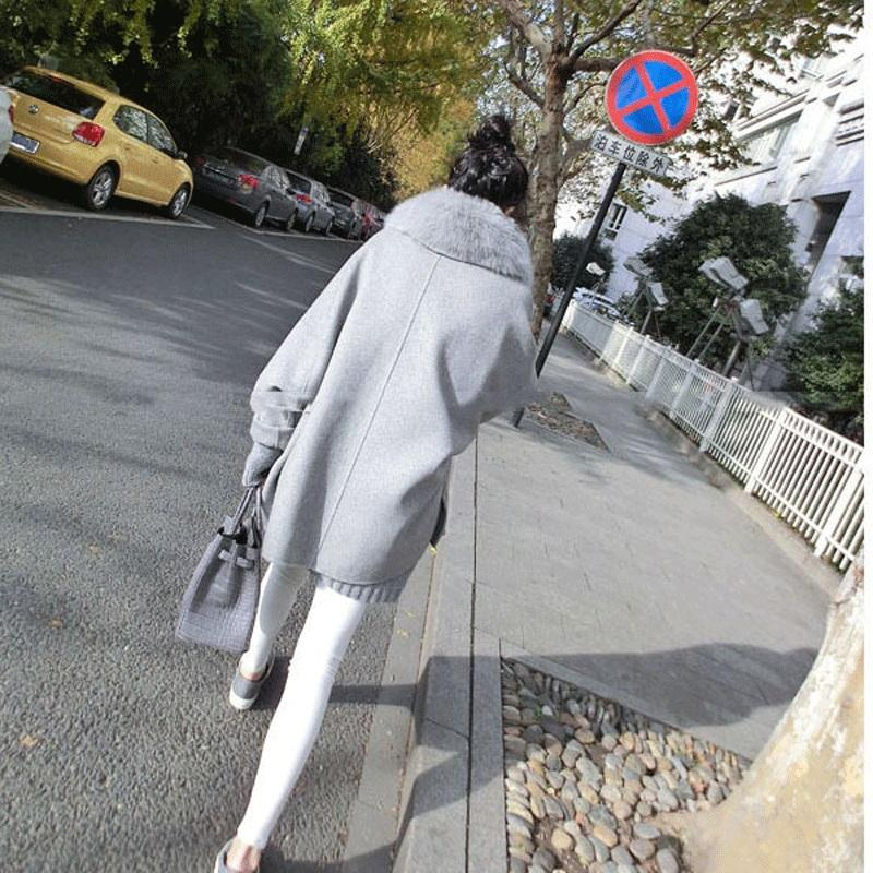 Hot Selling Luxury Fox Fur Collar Women Cashmere Coat 2017 New Covered Button Women Wool Coats And Jackets Loose Cloak GQ1665