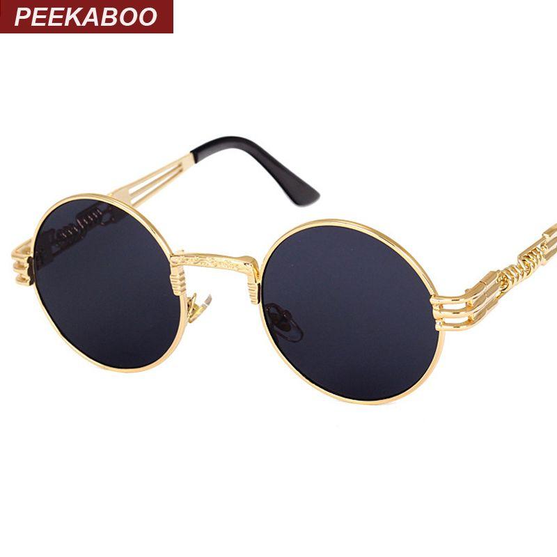 12adf8667 Atacado-Peekaboo New prata ouro metal espelho pequeno rodada óculos de sol  homens marca vintage rodada óculos de sol mulheres UV de alta qualidade  barato