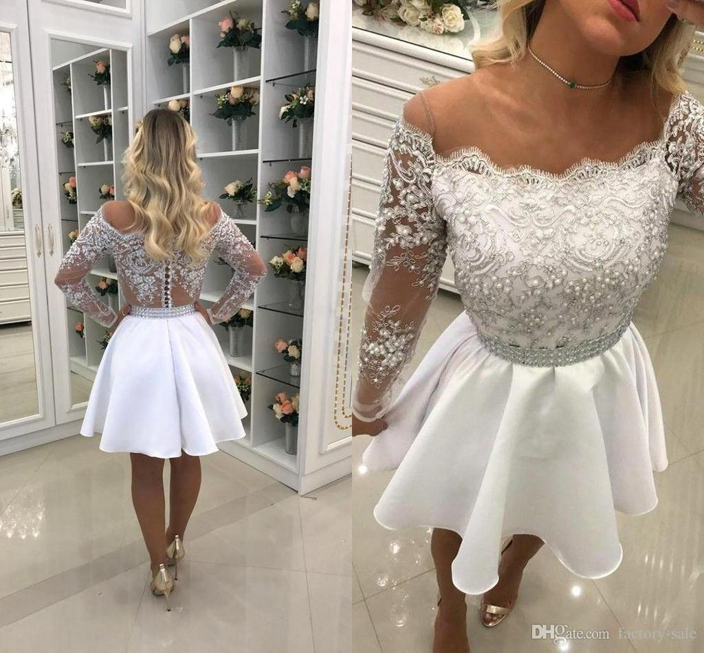 6132f9e7ed9 2018 Short A Line Lace Homecoming Dresses Sheer Neck Long Sleeves Lace  Applique Pearls Beads Mini Chiffon Cocktail Party Gowns Custom Lulu  Homecoming ...