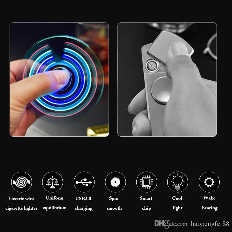 NEW Fidget Spinner Cigarette Lighter LED Hand Spinner Aluminium Alloy USB Charger Functions Charging USB Gyro Finger Tip Cube