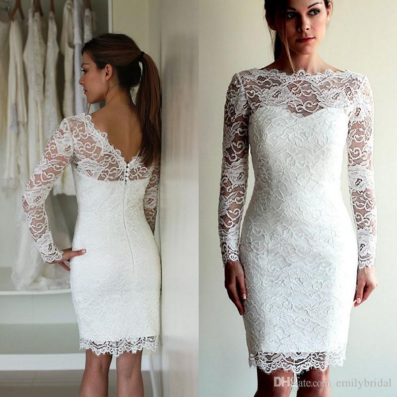 compre vestidos de novia cortos de encaje de la envoltura de la