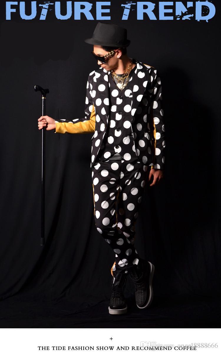Giacca a maniche lunghe da uomo, giacca a maniche lunghe, pantaloni a costumino, marchio di moda, cappotto da discoteca, cantante a tre pezzi, giacca slim di personalità