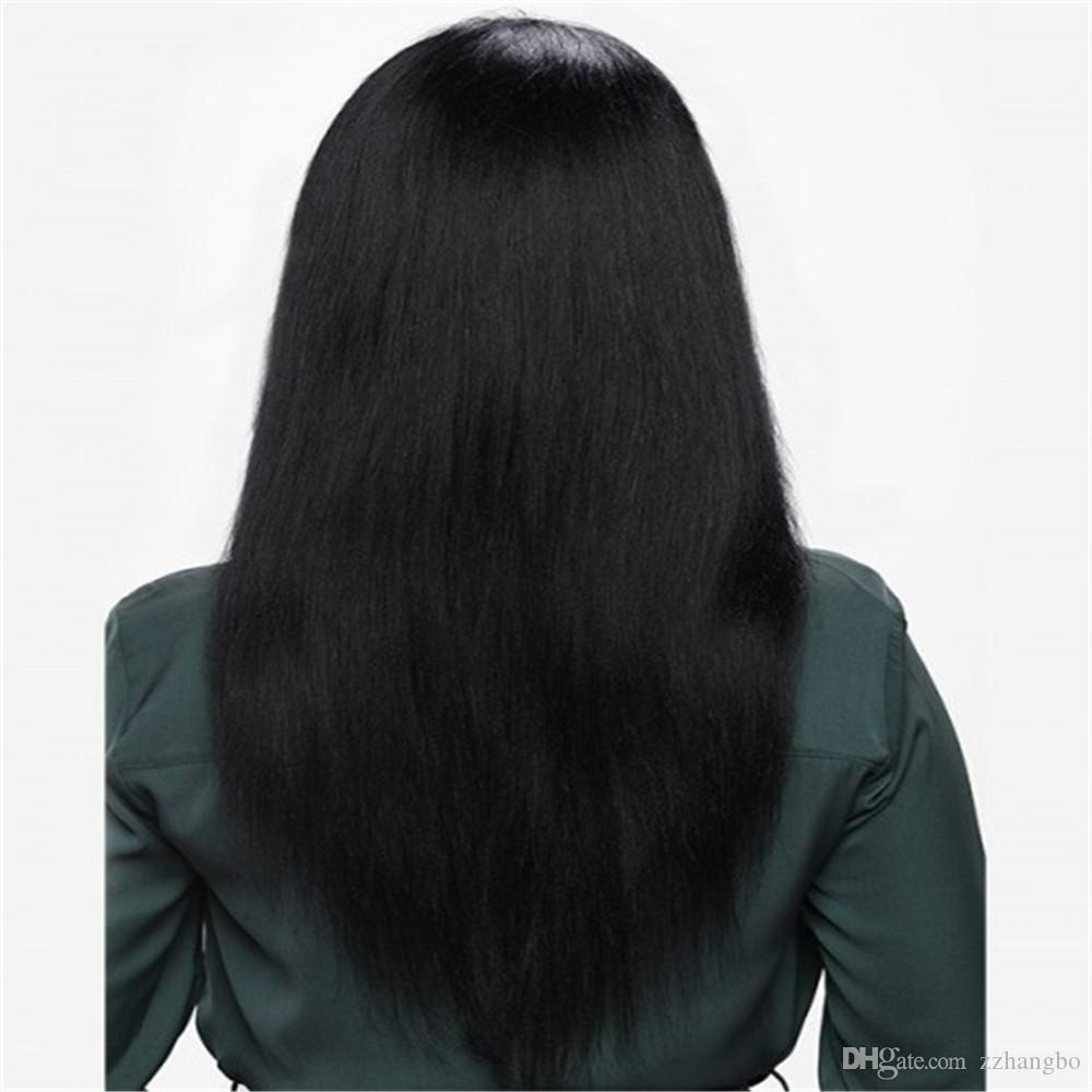 Luxury wig color black Full Lace Human Hair Wig Senior silk Long Wavy Full Lace Wig Brazilian Virgin Hair 100% With Bangs For women Color 1#