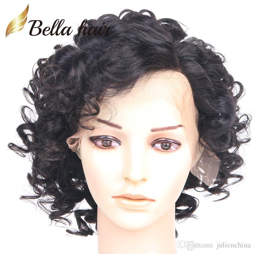 Grote Krullende Kant Pruik Virgin Menselijk Haar Natuurlijke Kleur Voor Zwarte Vrouwen 130% 150% Dichtheid Bellahair