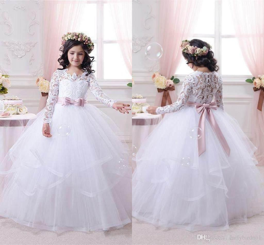 2017 White Flower Girl Dresses For Weddings Long Lace Sleeve Girls ...