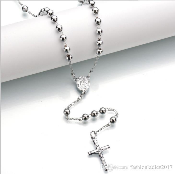 حبات المسبحة قلادة الصليب يسوع قلادة من الفضة والذهب مطلي الخرز القلائد الطويلة للرجال والنساء سلسلة حبة الوردية