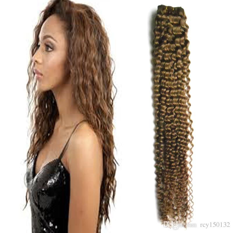 Medium Brown hair extensions weave kinky curly human hair bundles 100g /LOTunprocessed brazilian kinky curly virgin hair weaves