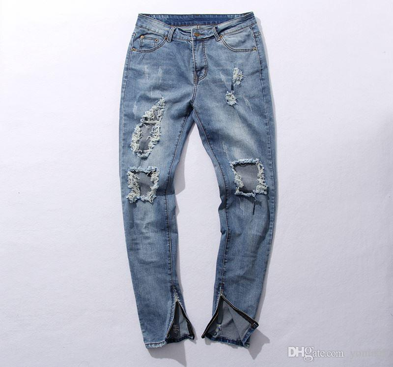 Wholesale- skinny ripped korean hip hop fashion pants cool mens clothing jumpsuit men's jeans west slp fear of god