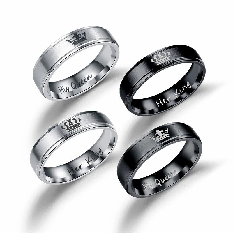 titanium ring forever her bands rings steel black products and matching stainless gold wedding hers love band couple plated rose his