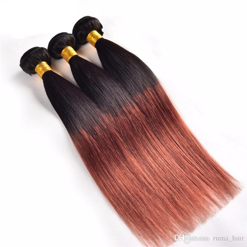 3 Bundles Human Hair Brazilian 9A Two Tone Straight Hair Weave #1b 33 Cheap Straight Hair Bundles Ombre Honey Blonde For Sale