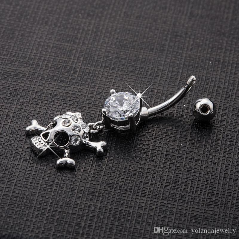 Sexy Body Jewelry 14G Steel Clear Crystal Personality Skull Navel Rings Bar Belly Piercing Button для сексуальных дам