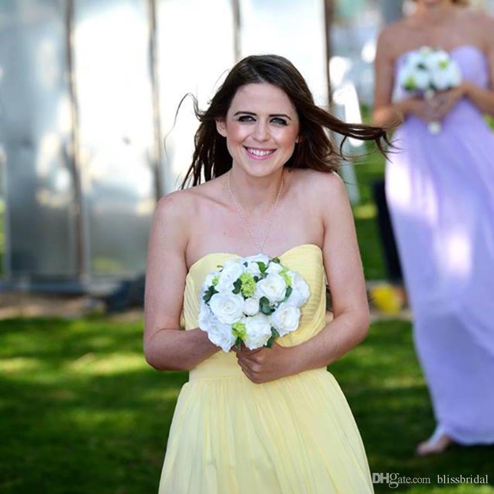 エレガントなカラフルな恋人の花嫁介添人のドレスホットシフォンの床の長さのプリーツフォーマルなガウンカスタムメイドの長い安いプロムデセス